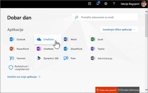 Office 365 početni ekran sa izaberite stavku OneDrive
