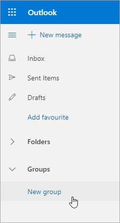 Nova lokacija grupe na Outlook.com listi fascikli