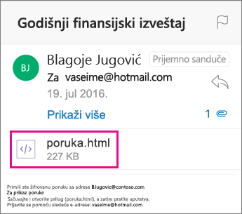 OME prikazivač za Outlook za iOS 1