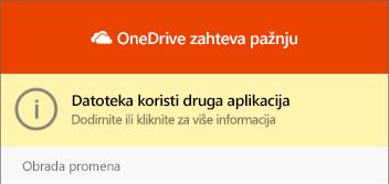 """Dijalog """"datoteka u upotrebi"""" OneDrive """""""