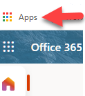 Red arrow pointing to Apps icon