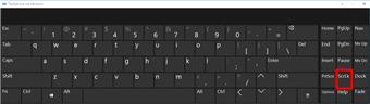 Tastatura na ekranu operativnog sistema Windows 10 sa tasterom Scroll Lock