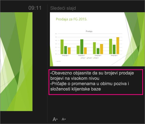 Prikazuje beleške u prikazu za izlagača u programu PowerPoint 2016 za Mac