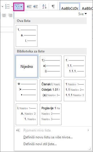 Stilovi lista sa više nivoa u programu Word 2010