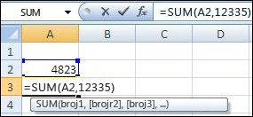 Korišćenje funkcije SUM za sabiranje ćelije i vrednosti