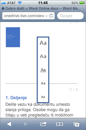 Izbor veličine fonta u mobilnom prikazivaču za Word