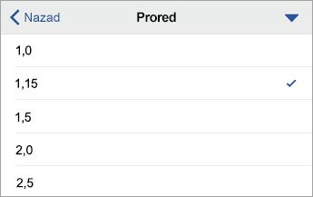 """Komanda """"Prored"""" koja prikazuje opcije oblikovanja, sa izabranom opcijom """"1.15"""""""