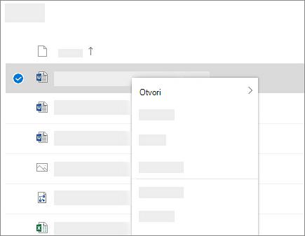 Snimak ekrana koji prikazuje priručni meni izabrane datoteke