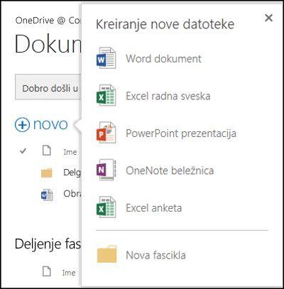 """Opcije sistema Office Online koje možete koristiti preko dugmeta """"Novo"""" u usluzi OneDrive for Business"""