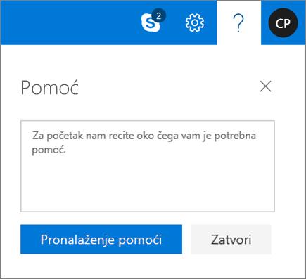 """Snimak ekrana prikazuje dijalog """"Pomoć""""gde možete da unesete informacije o problemu, a zatim da kliknete na dugme """"Potraži pomoć""""."""