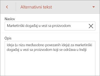"Komanda ""Alternativni tekst"" na kartici ""Oblik"""