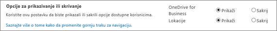 SPO SharePoint postavke Prikaži/Sakrij opcije odeljka