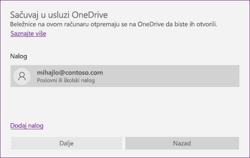 """Snimak ekrana odziva """"Sačuvaj u OneDrive"""" u programu OneNote"""