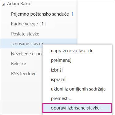 """Putanja menija koja se koristi za pristup dijalogu """"Oporavak izbrisanih stavki"""" u programu Outlook Web App"""