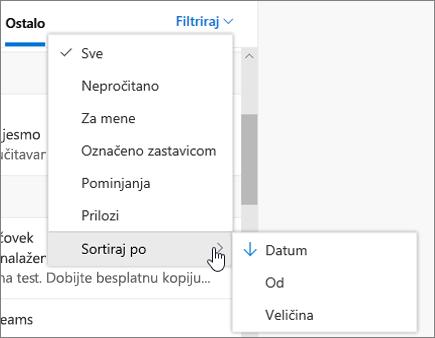 Filtriranje e-pošte u programu Outlook na vebu