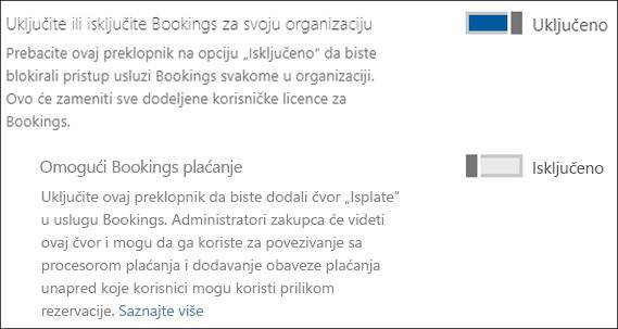 Hvatanje ekrana: koja prikazuje kontrolu rezervacije administracije na stranici usluge i programski dodaci