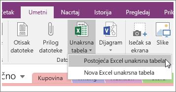 Snimak ekrana dugmeta za umetanje unakrsne tabele u programu OneNote 2016.