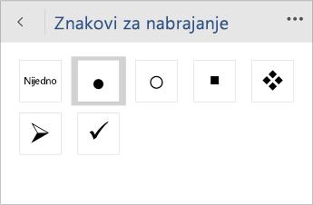 """Snimak ekrana menija """"Znakovi za nabrajanje"""" za izbor stila znakova za nabrajanje u programu Word Mobile."""