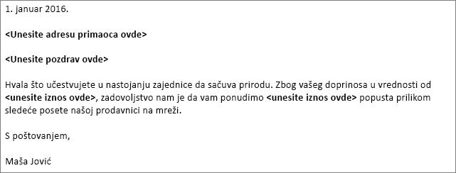 Uzorak pismo u programu Word sa bel koristi za objedinjavanje pošte.