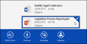 Datoteka izabrana u aplikaciji OneDrive for Business