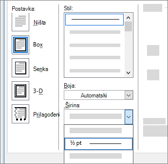 Postavke ivice stranice