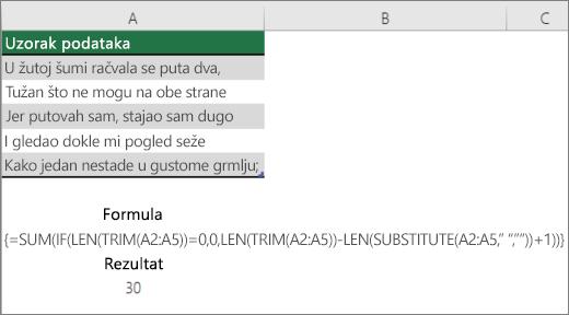 Primer ugnežđene formule za prebrojavanje reči