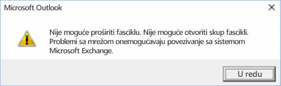 Outlook 2016 greška – nije moguće razvijanje fascikle