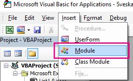 U meniju Umetanje izaberite stavku modul.