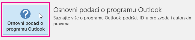 """Odaberite polje """"Osnovni podaci o programu Outlook""""."""