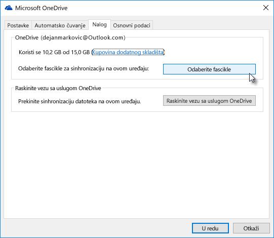 Izbor fascikli za selektivnu sinhronizaciju usluge OneDrive