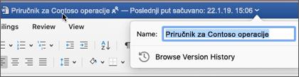 Ako kliknete na naslov dokumenta, možete da preimenujete datoteku ili da vidite istoriju verzija