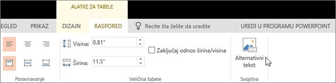 """Snimak ekrana prikazuje karticu """"Raspored"""" alatki za tabele sa kursorom koji pokazuje opciju """"Alternativni tekst""""."""