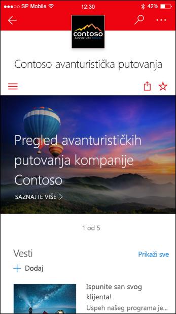 SharePoint lokacija za komunikaciju na mobilnom uređaju