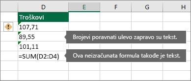 Ćelije sa brojevima uskladištenim kao tekst sa zelenim trouglovima