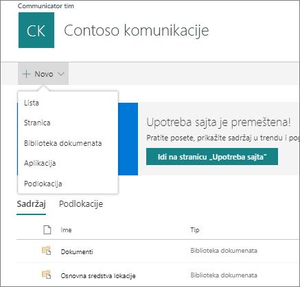 Stranica sa sadržajem stranice sa novim opcijama