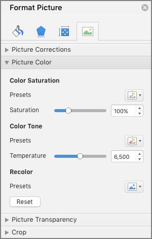 """Prilagođavanje postavki zasićenosti boja u oknu """"Oblikovanje slike"""""""