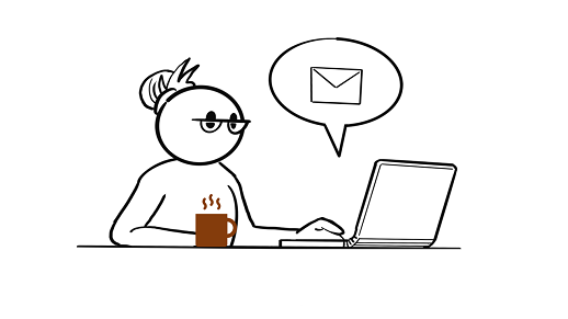 A line drawing of person sitting at a laptop