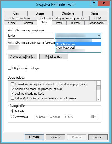 Dodavanje novog UPN sufiksa za korisnika