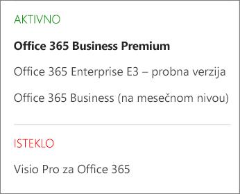 """Snimak ekrana stranice """"Pretplate"""" Office 365 centra administracije koji prikazuje listu više pretplata grupisanih po statusu."""