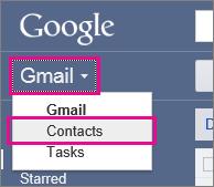 """google gmail > izaberite stavku """"kontakti"""""""