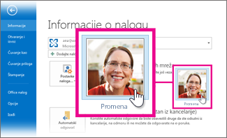 Promena slike za Office iz programa Outlook