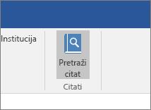 """Snimak ekrana prikazuje odeljak trake sistema Office sa istaknutom komandom """"Pretraži citate"""" u programskom dodatku """"Citati""""."""