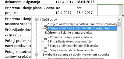 Plan projekta sa padajućim menijem koji sadrži zadatke