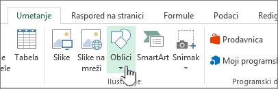"Excel dugme ""Umetni oblike"""