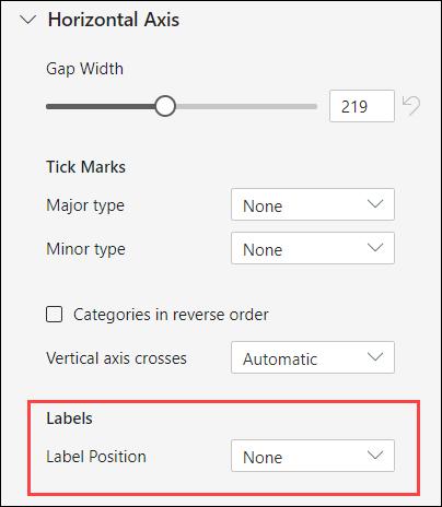 Opcije oznaka za osu grafikona za Excel za veb