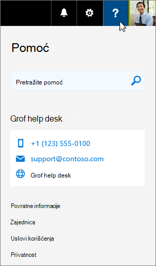 Prilagođena pomoć se pojavljuje na kartici pomoći za Office 365
