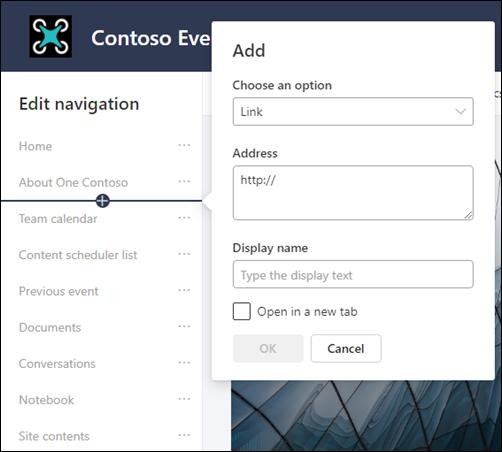 Dodavanje veze ka levom oknu za navigaciju SharePoint sajta tima