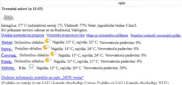 Data View of MSN Weather