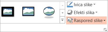 "Prikazuje dugme ""Raspored slika"" na kartici ""Oblikovanje"""