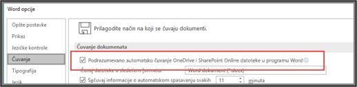 Dijalog Datoteka > Opcije > Čuvanje koji prikazuje polje za potvrdu za omogućavanje ili onemogućavanje automatskog čuvanja